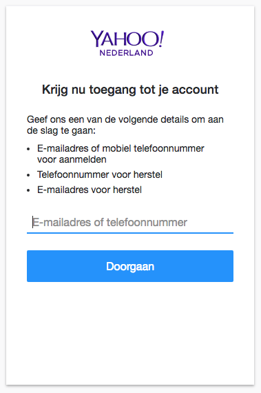 Toegang tot account Yahoo!